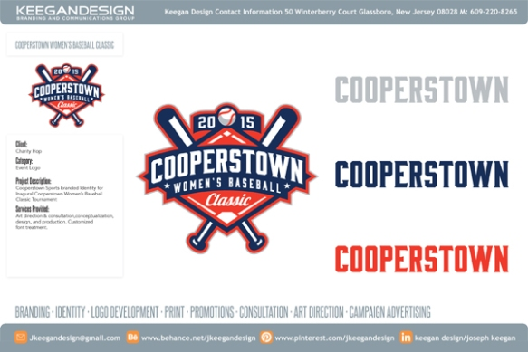 Cooperstown Women's Baseball Classic logo, created by Keegan Design.