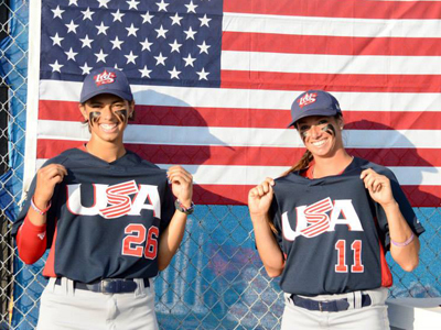 Team USA Baseball's Cyndee Sanders and Nicole Rivera pose.